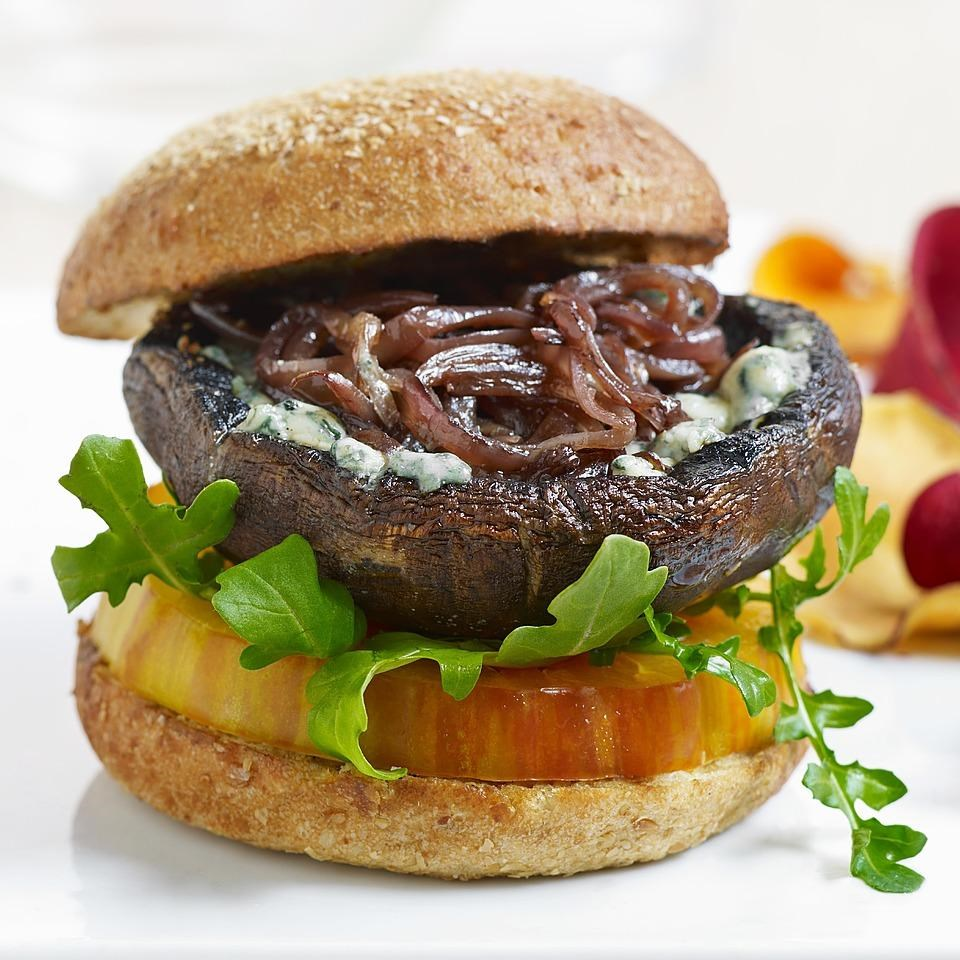 Blue cheese portobello burgers recipe eatingwell for Burger de