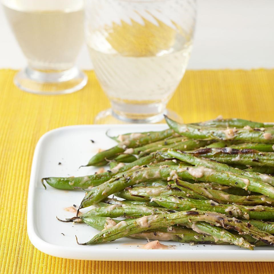 Grilled Green Beans with Horseradish Ketchup