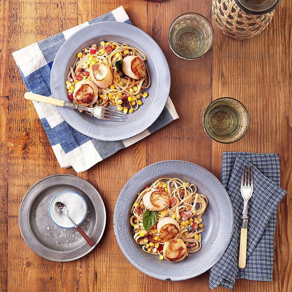 Summer Corn & Scallop Pasta