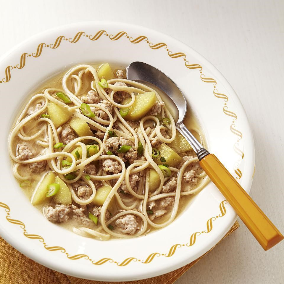 Pork, Apple & Miso Noodle Soup for Two