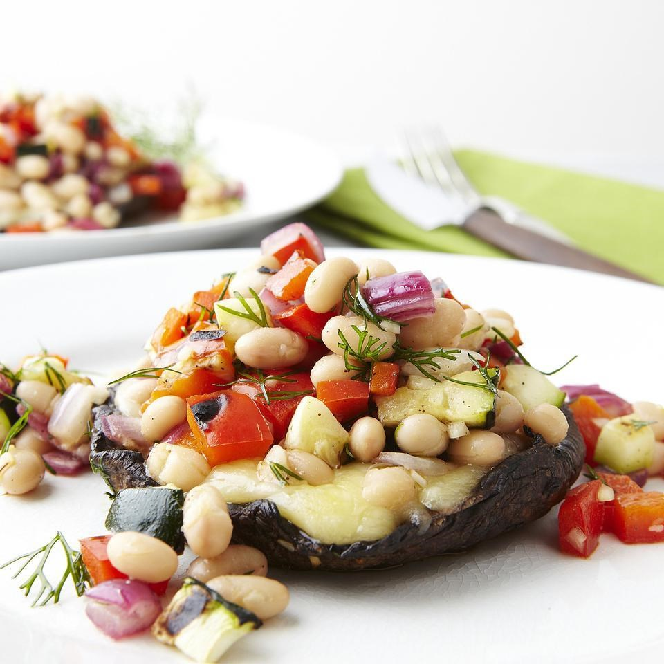 Grilled Portobellos with Chopped Salad
