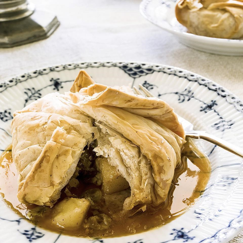 Phyllo-Wrapped Apple Dumplings with Apple Cider Sauce