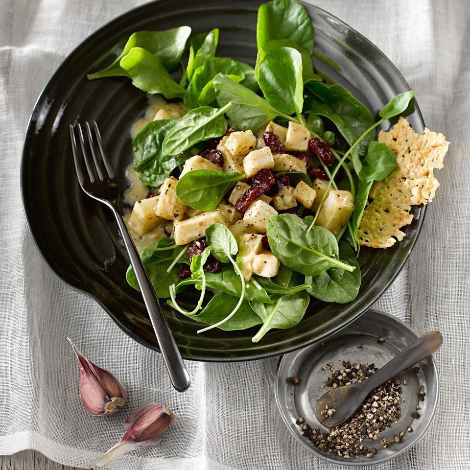 Celeriac, Cress & Spinach Salad with Parmesan Crisps