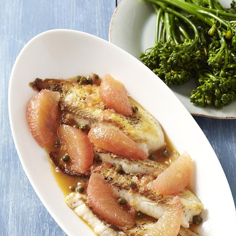 Tilapia with grapefruit caper sauce recipe eatingwell for Tilapia fish recipes