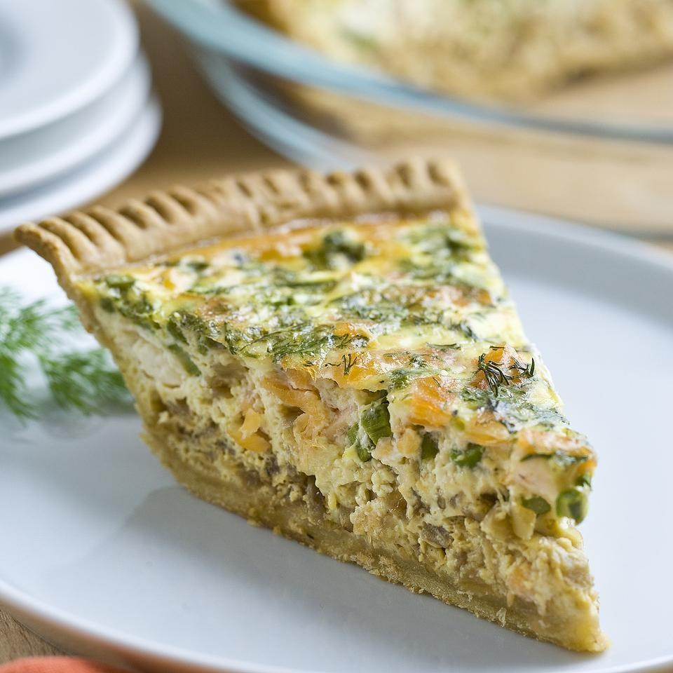 Recipes For Egg Bake Dishes: Asparagus & Smoked Salmon Quiche Recipe