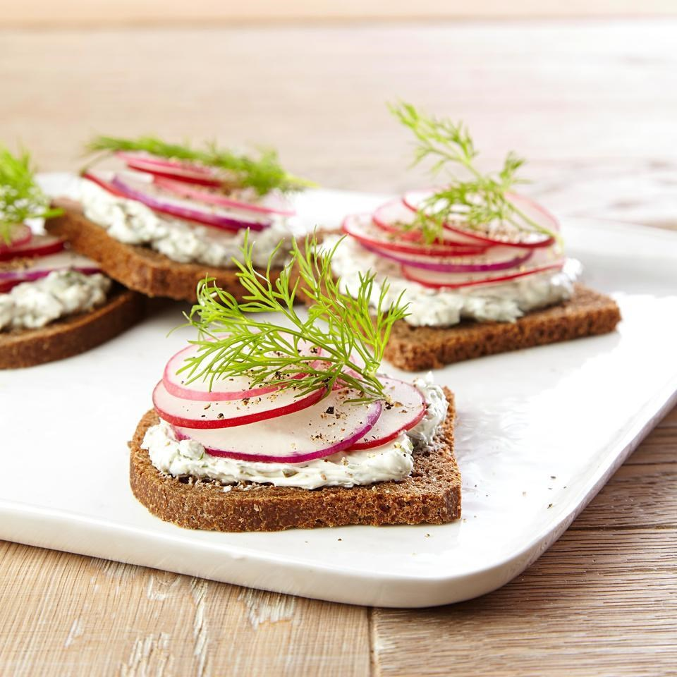 Radish Tea Sandwiches with Creamy Dill Spread Recipe - EatingWell.com