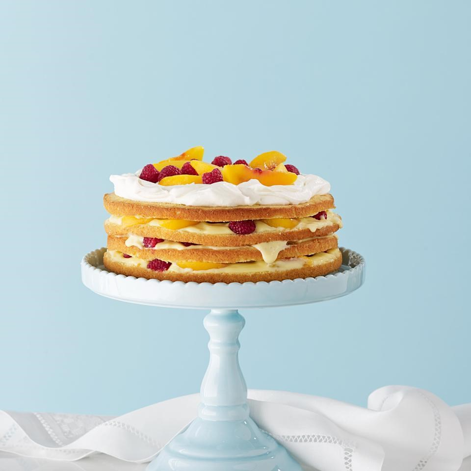 Raspberry-Peach Trifle Cake