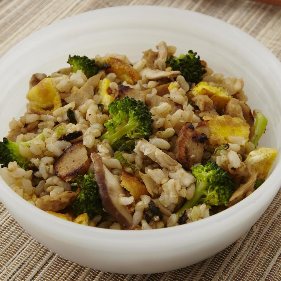 Malaysian Seitan, Broccoli & Mushroom Fried Rice