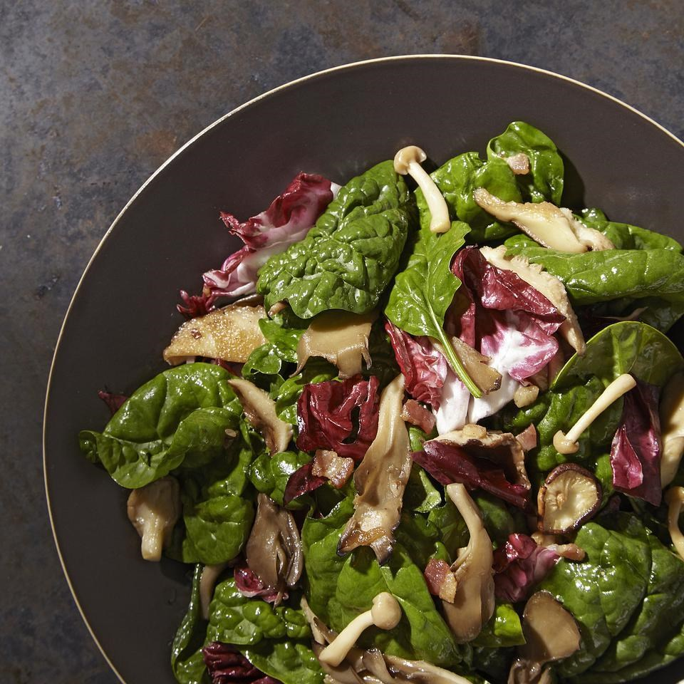 Warm Spinach And Mushroom Salad Recipe — Dishmaps