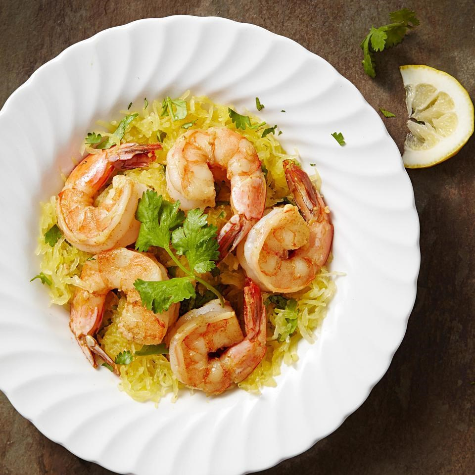 Garlic Shrimp With Cilantro Spaghetti Squash Recipe Eatingwell
