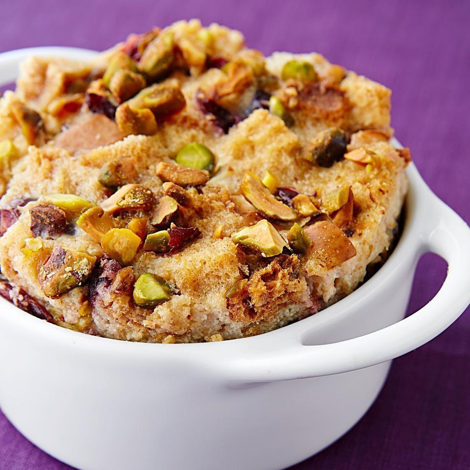Cardamom, Pistachio & Pear Bread Pudding