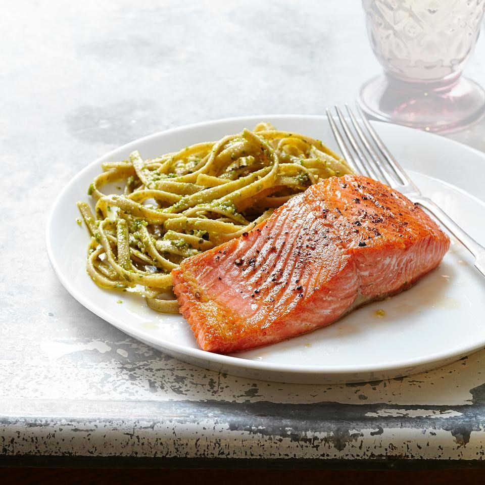 Pesto pasta with salmon recipe