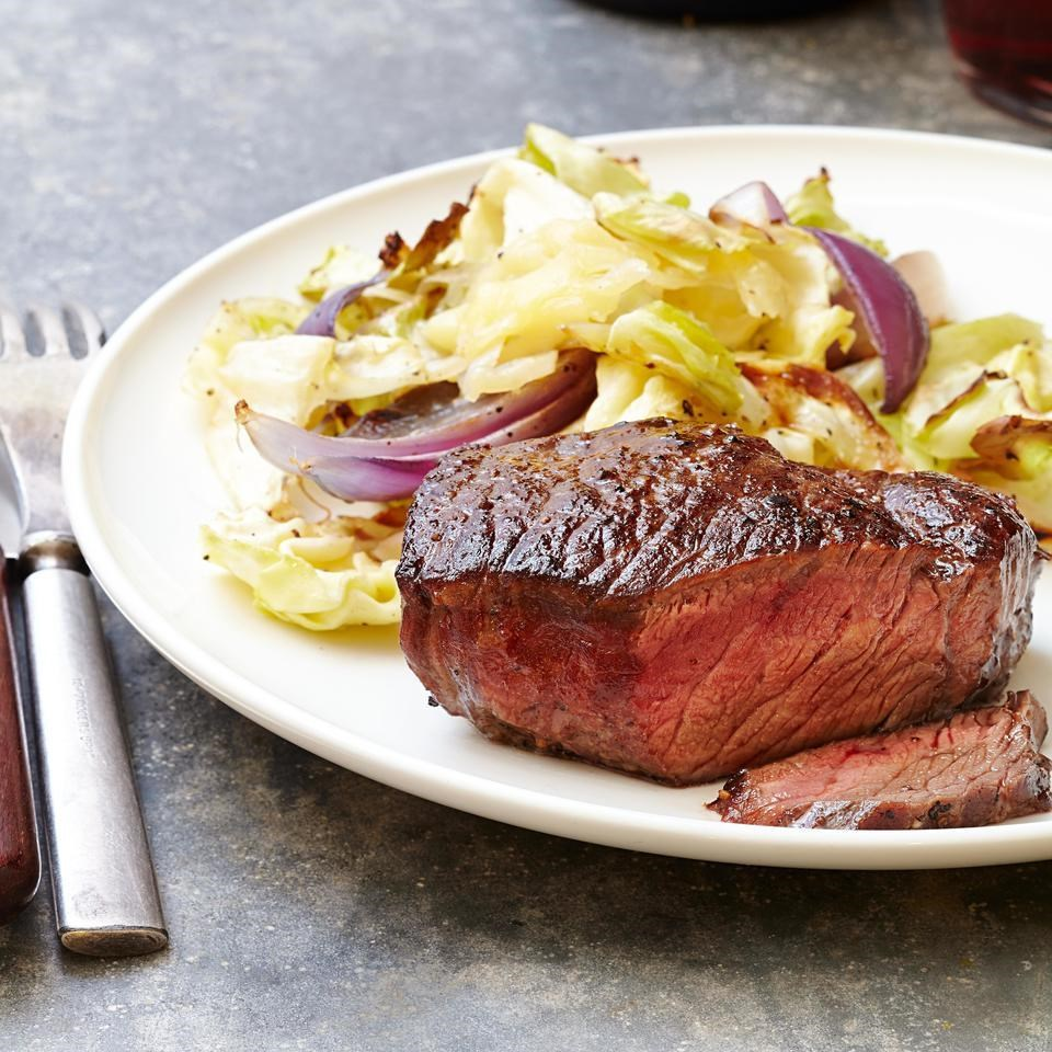 Steak with Cheddar Roasted Cabbage
