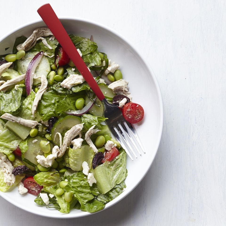 Edamame & Chicken Greek Salad Recipe - EatingWell