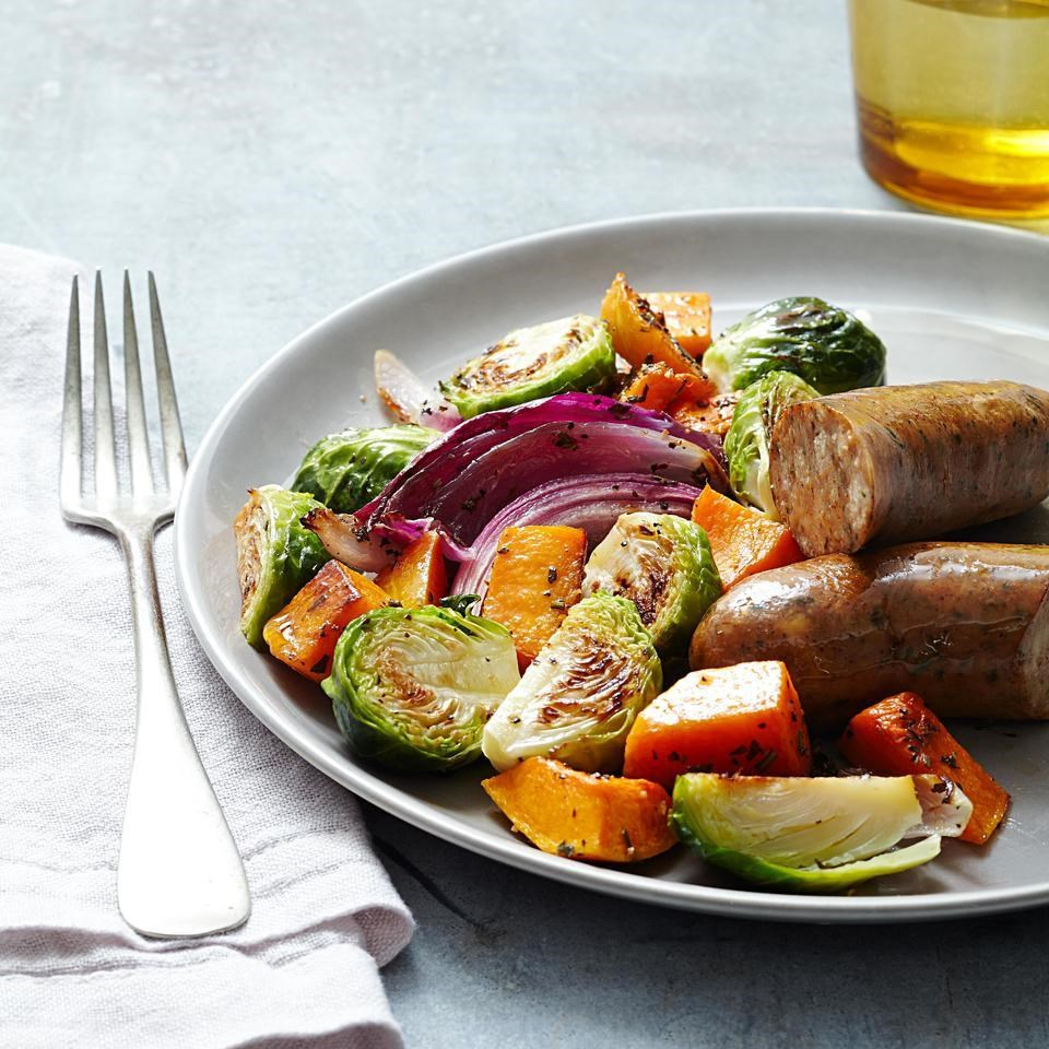 Roasted Autumn Vegetables & Chicken Sausage