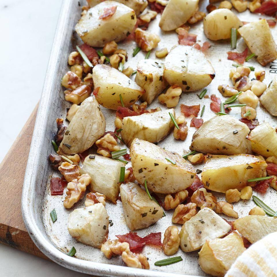 Roasted Jerusalem Artichokes with Crispy Prosciutto & Walnuts