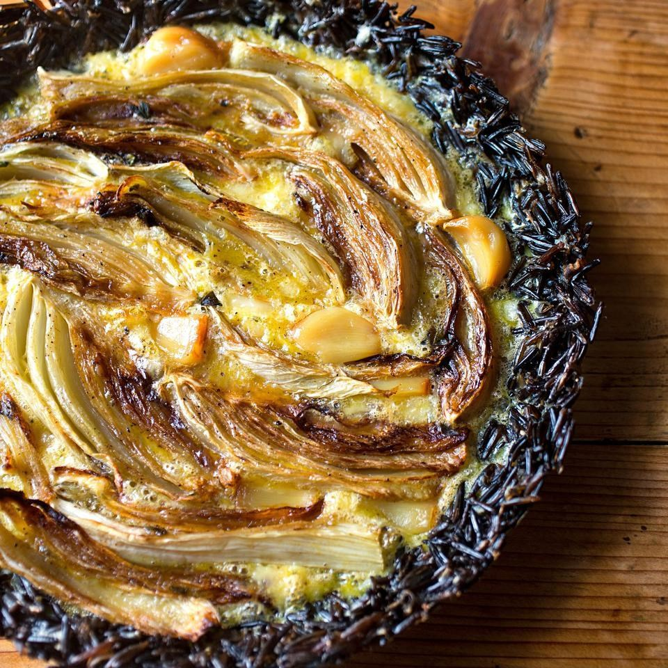 Fennel & Asiago Pie with a Wild Rice Crust