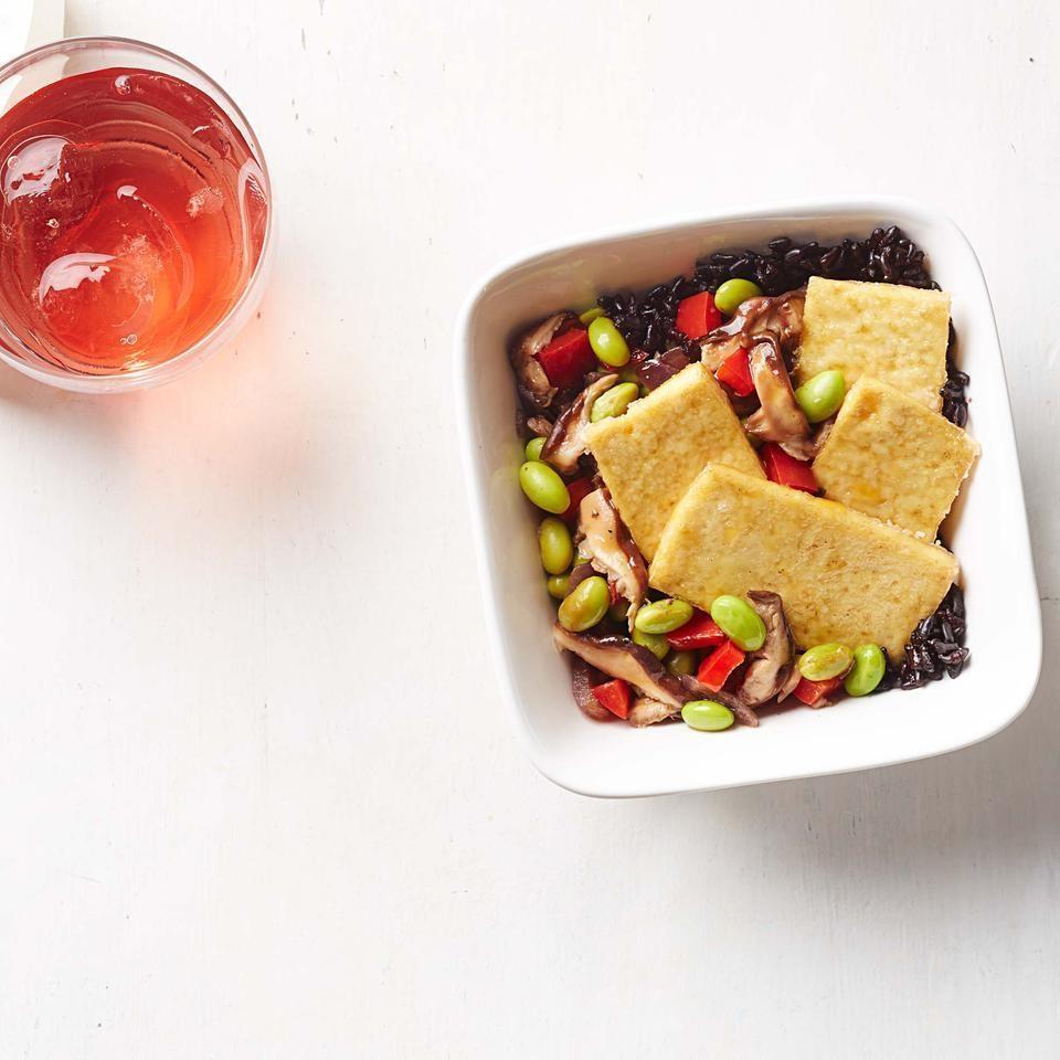 Crispy Tofu with Black Rice & Edamame-Mushroom Stir-Fry