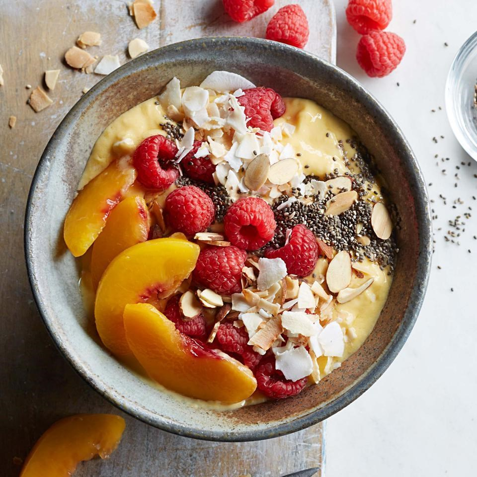 Raspberry Peach Mango Smoothie Bowl Recipe Eatingwell