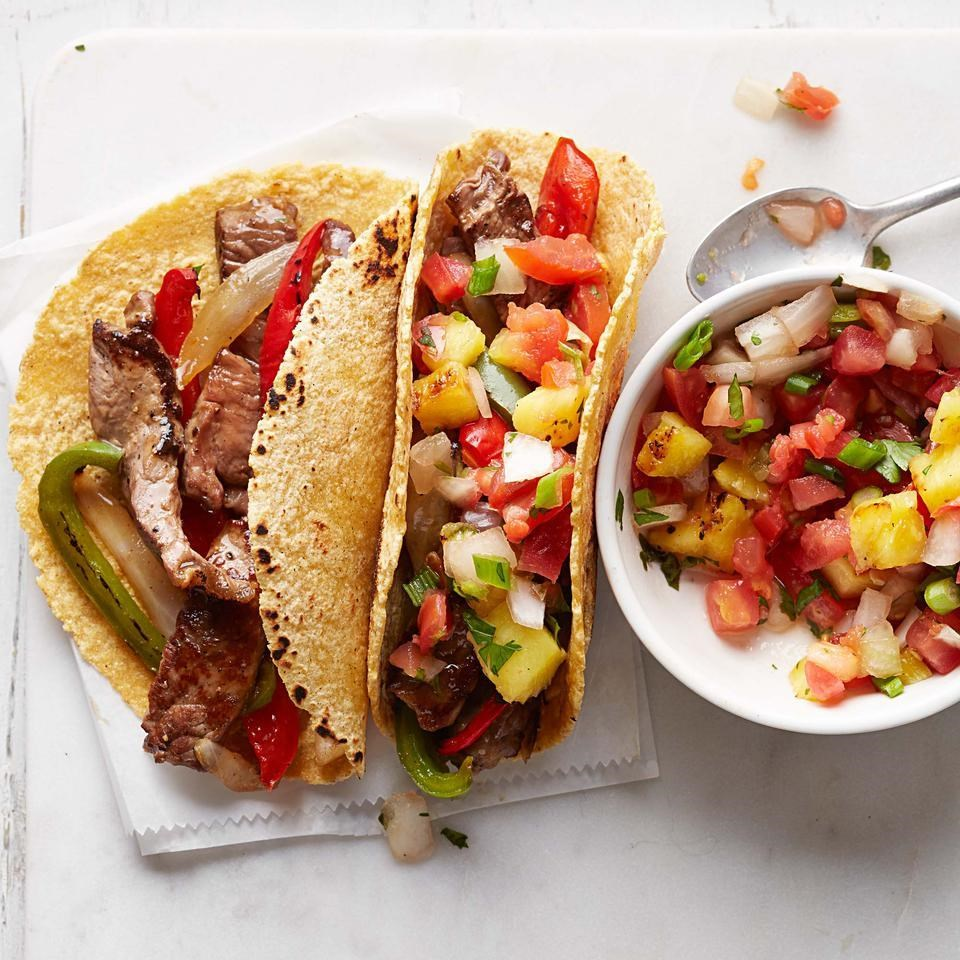 Hawaiian Steak Fajitas with Grilled Pineapple Salsa
