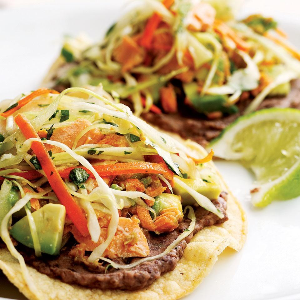 Black bean salmon tostadas recipe eatingwell for Healthy and delicious dinner recipes