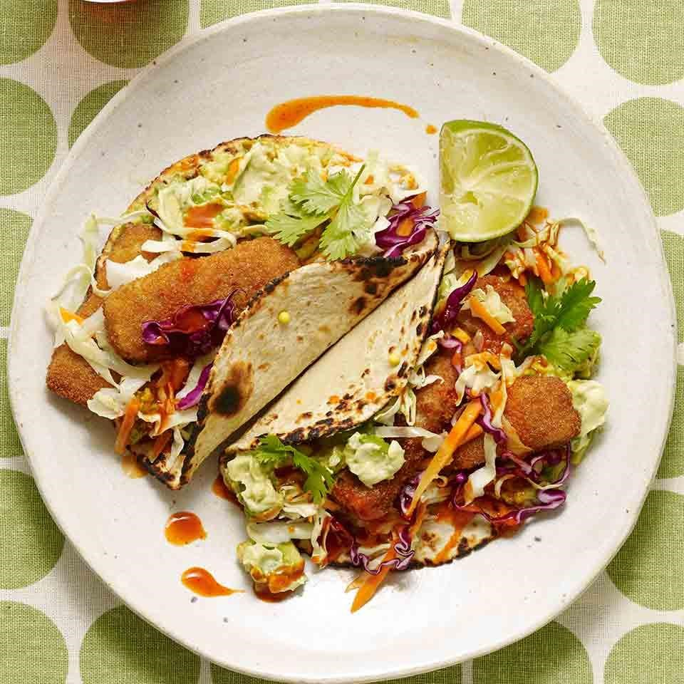 Fish tacos with avocado lime crema recipe eatingwell for Fish burrito recipe