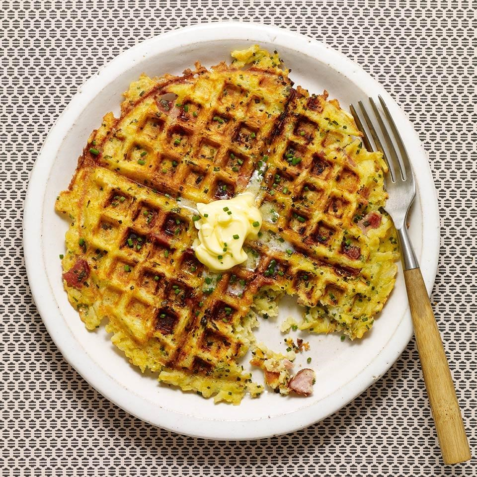 Ham & Gruyère Hash Brown Waffles
