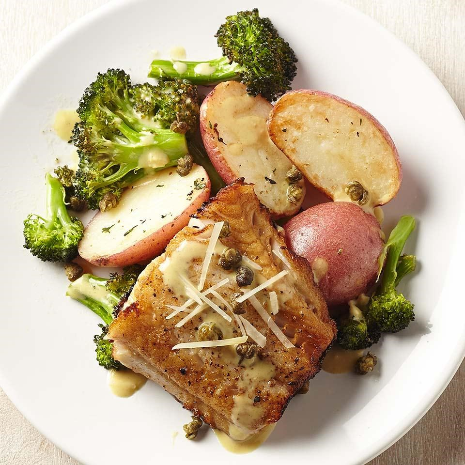 Lemon-Caper Black Cod with Broccoli & Potatoes