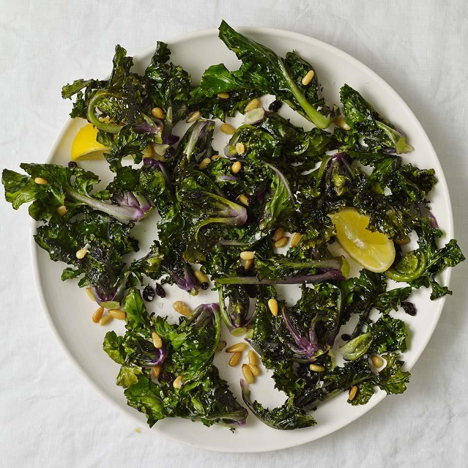 Roasted Kalettes With Pine Nuts Amp Currants Recipe Eatingwell