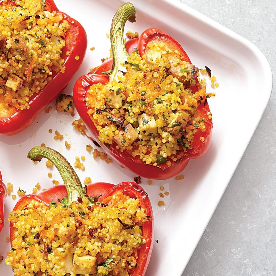 Millet-Stuffed Peppers with Ginger & Tofu