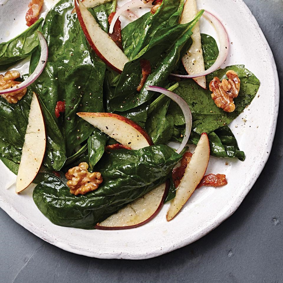 Warm Pear & Spinach Salad with Maple-Bacon Vinaigrette