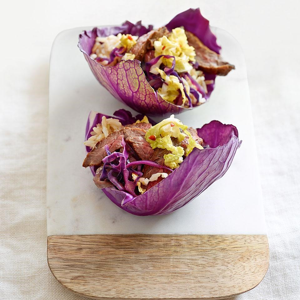 Korean-Style Beef & Cabbage Tacos