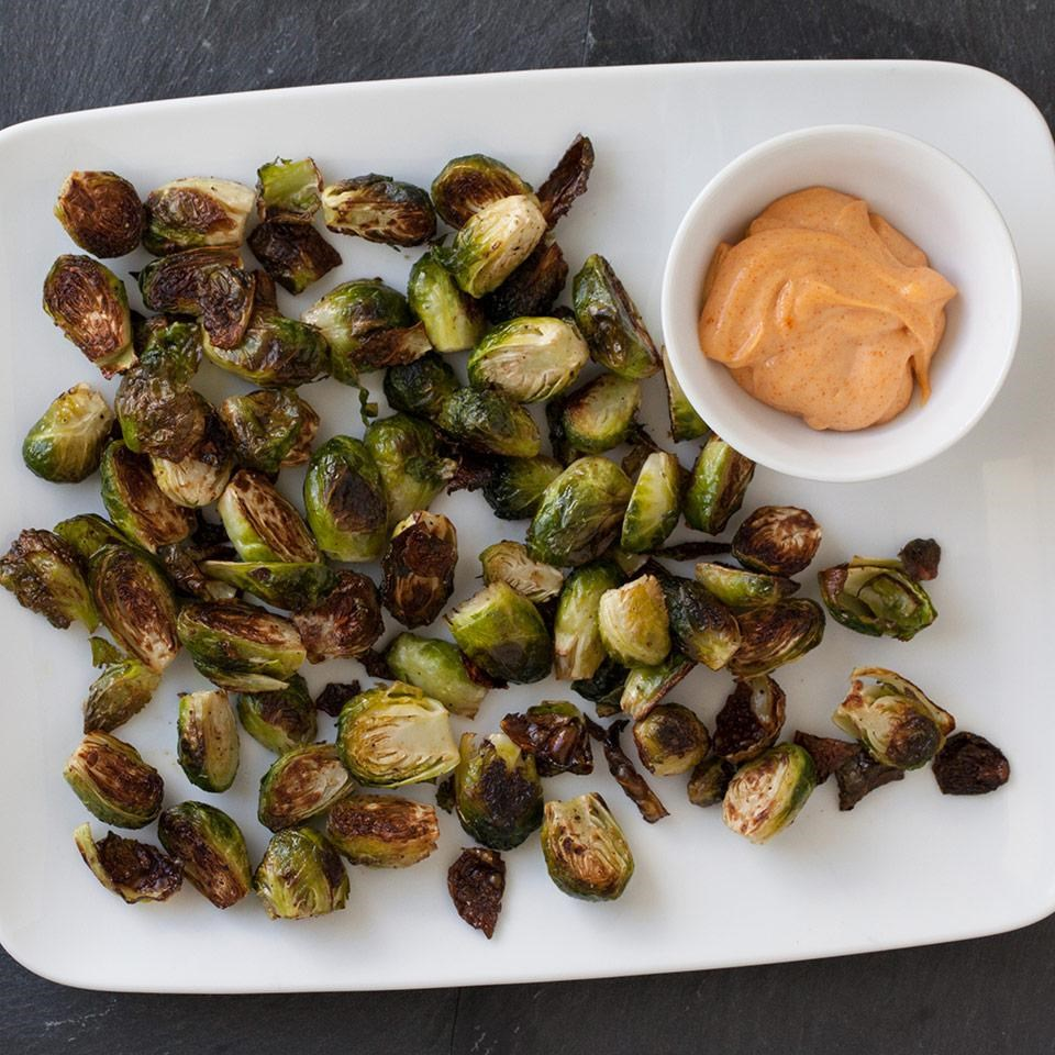 Roasted Brussels Sprouts with Smoky Aioli
