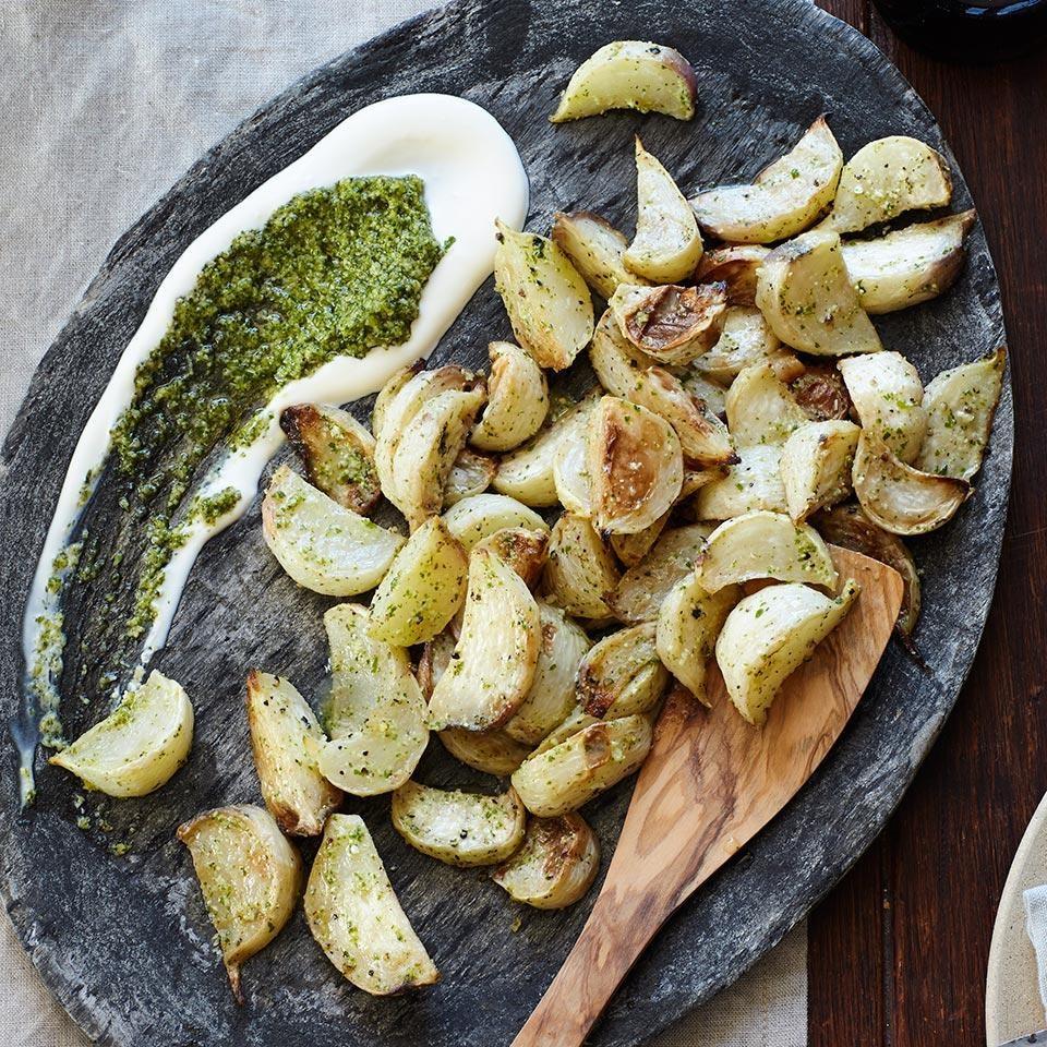 Braised Turnips with Crème Fraîche & Arugula Pesto