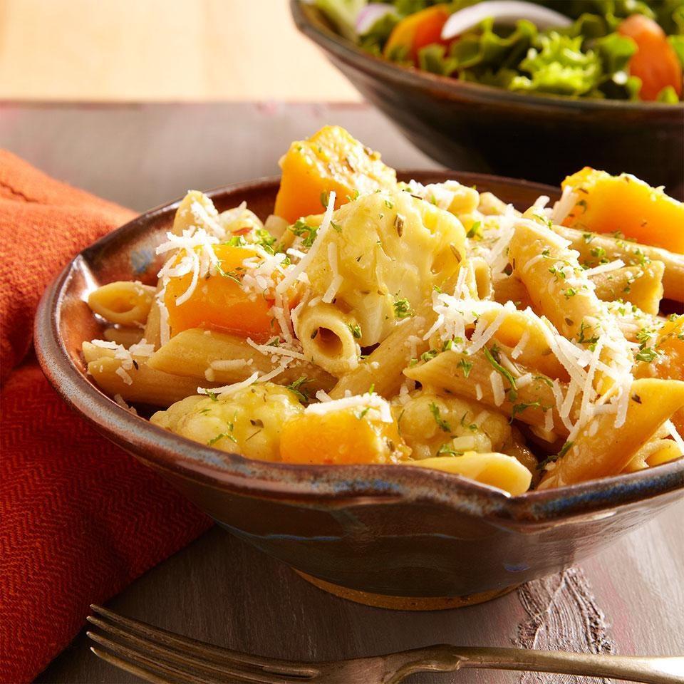 Braised Cauliflower & Squash Penne Pasta