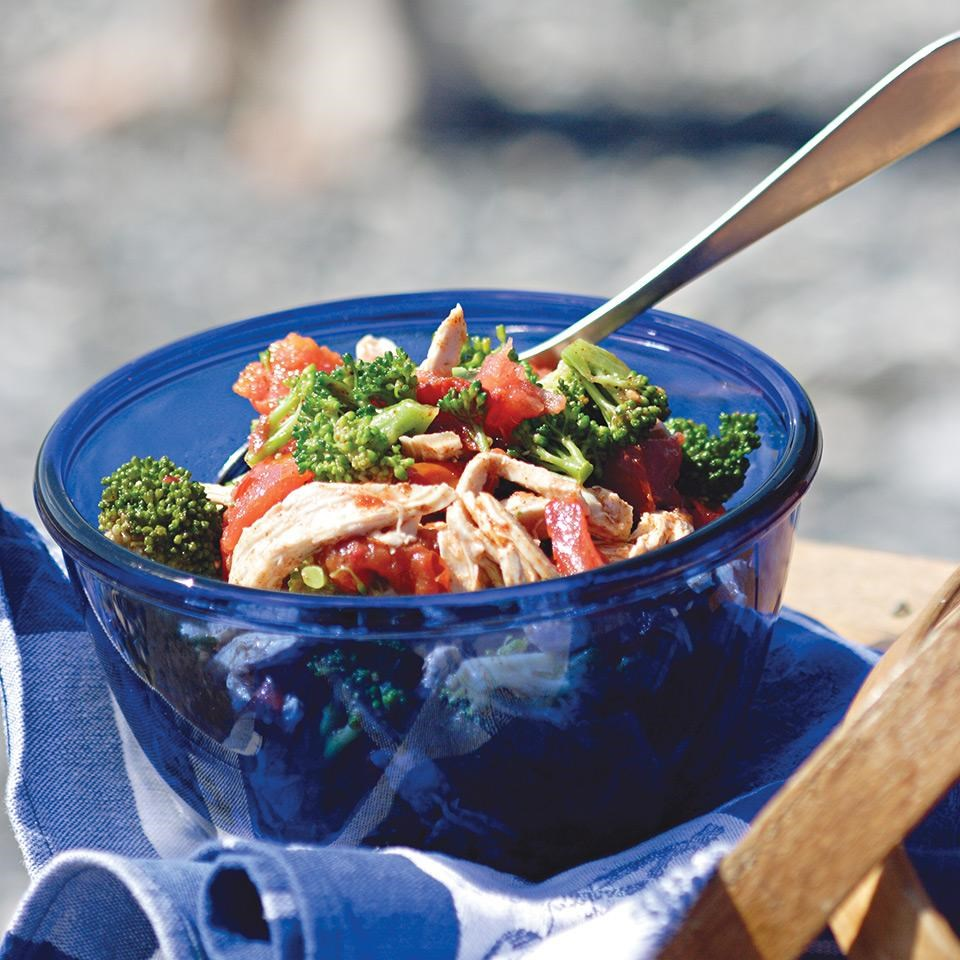 Chicken, Charred Tomato & Broccoli Salad