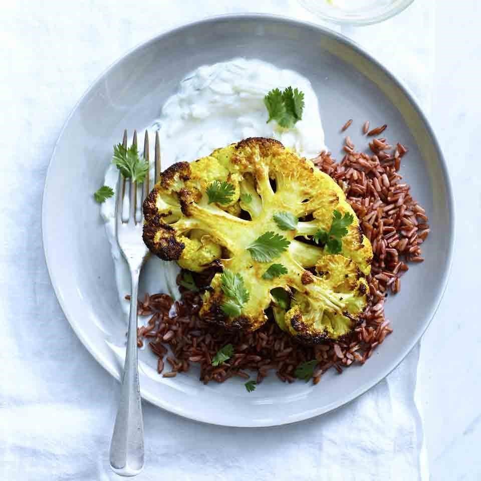 Curried Cauliflower Steaks with Red Rice and Tzatziki