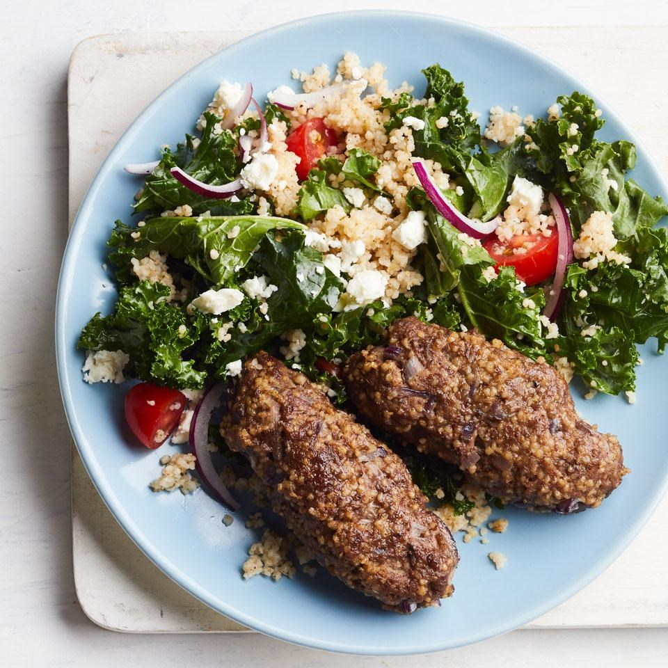 Beef Kofta with Bulgur & Kale Salad
