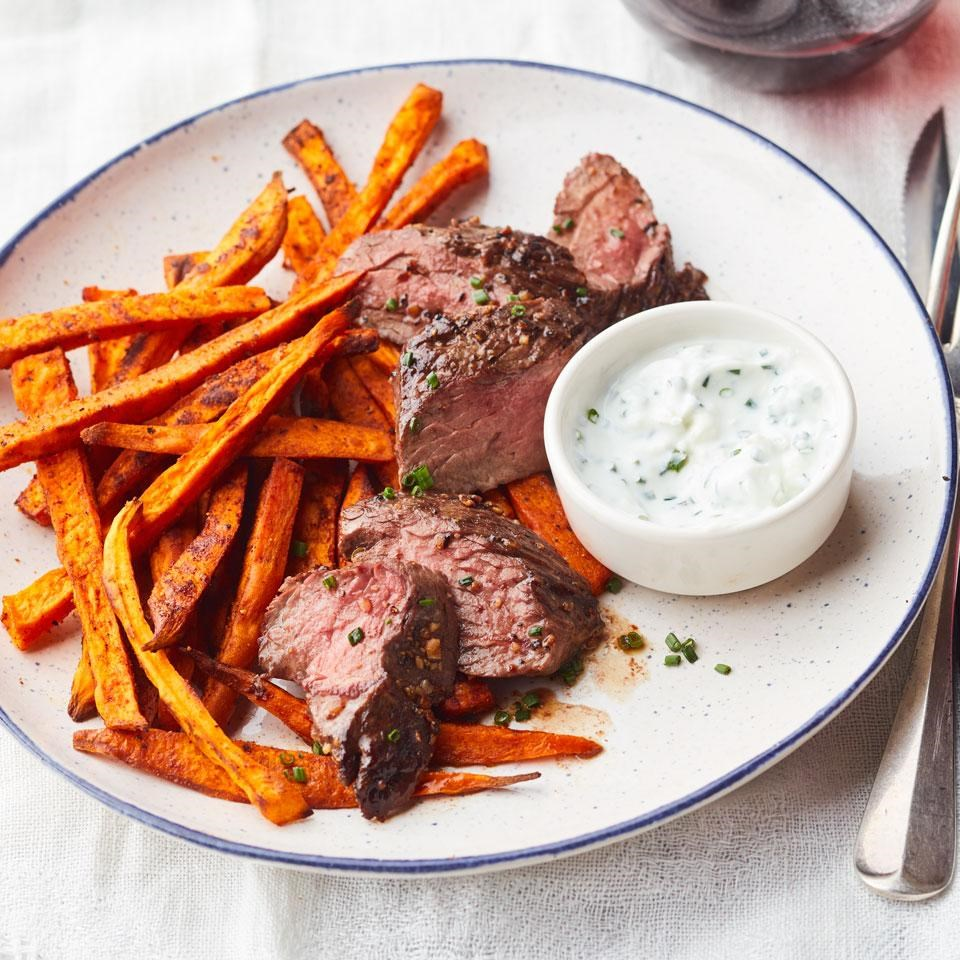 Montreal-Style Hanger Steak with Sweet Potato Frites
