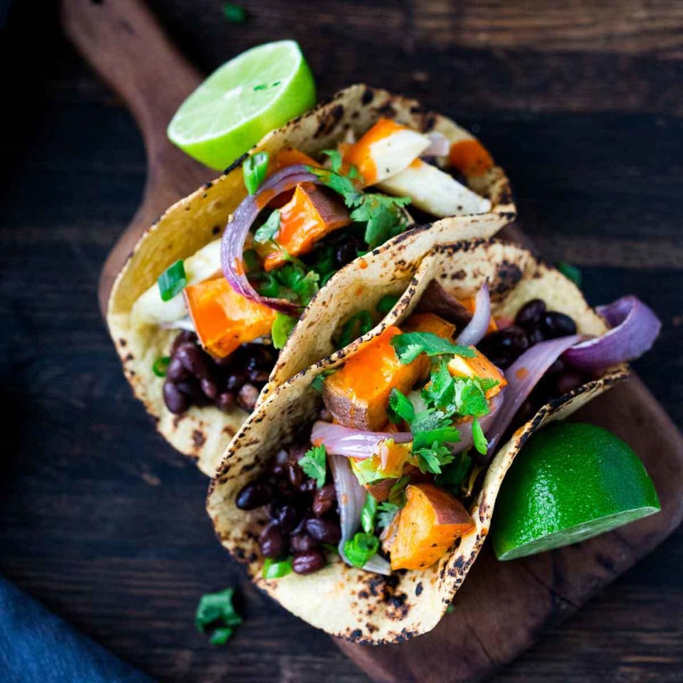 Roasted Vegetables & Black Bean Tacos