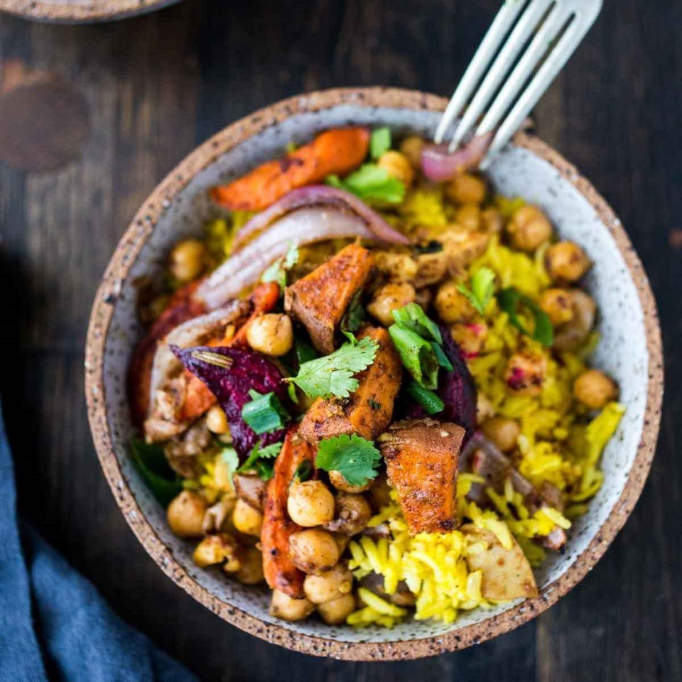 Turmeric Rice Bowl with Garam Masala Root Vegetables and Chickpeas