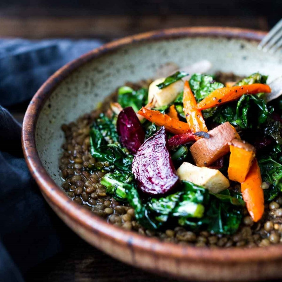 Roasted Root Veggies & Greens over Spiced Lentils