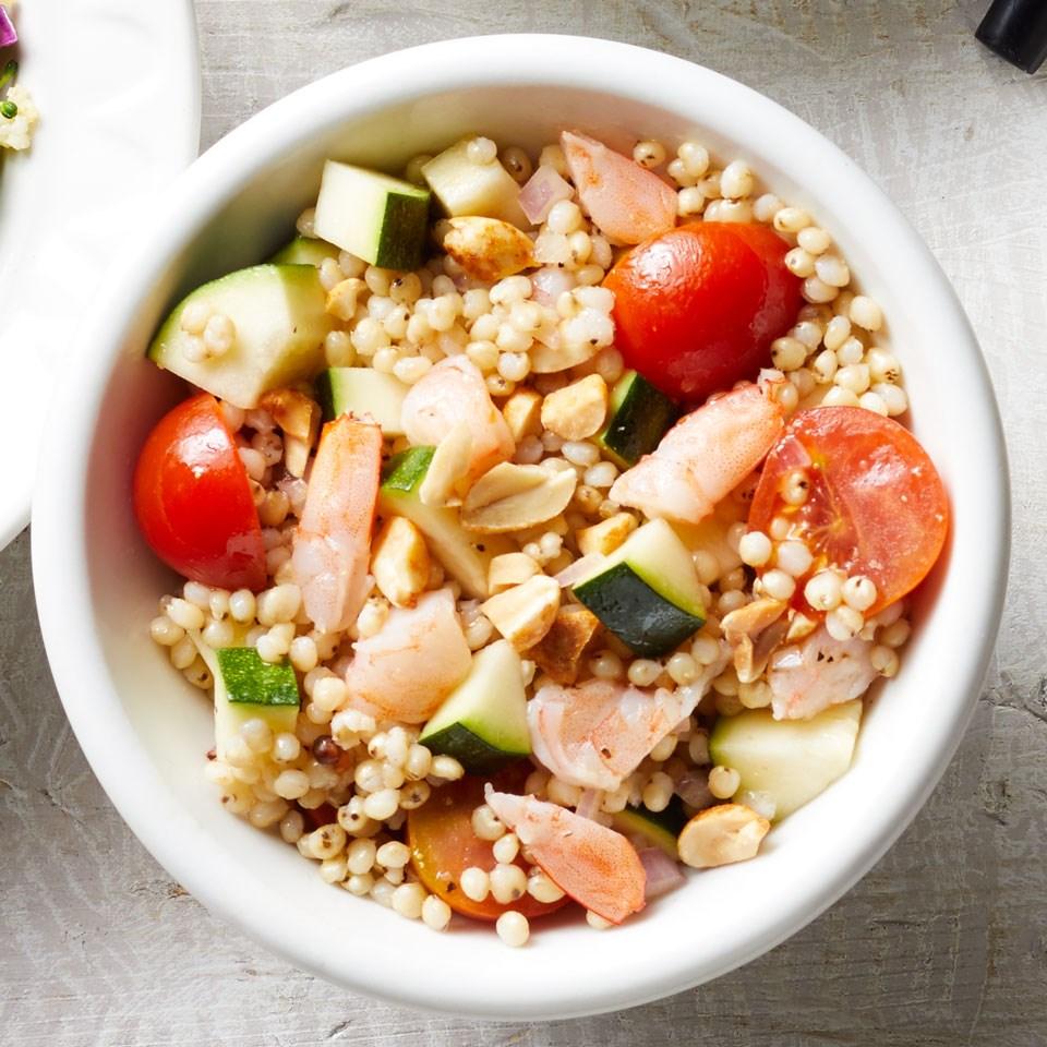 Shrimp, Zucchini & Tomato Sorghum Salad
