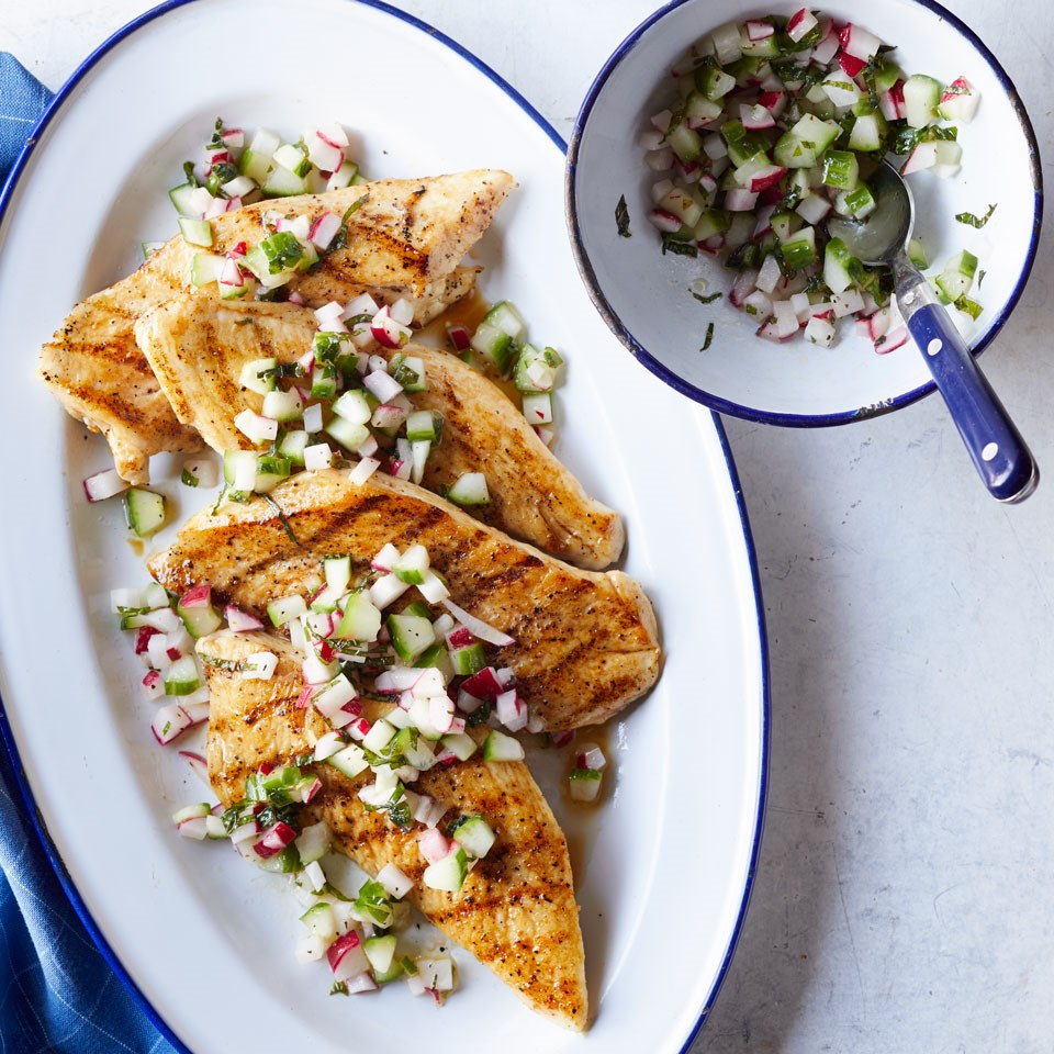 Grilled Chicken with Cucumber-Radish Salsa