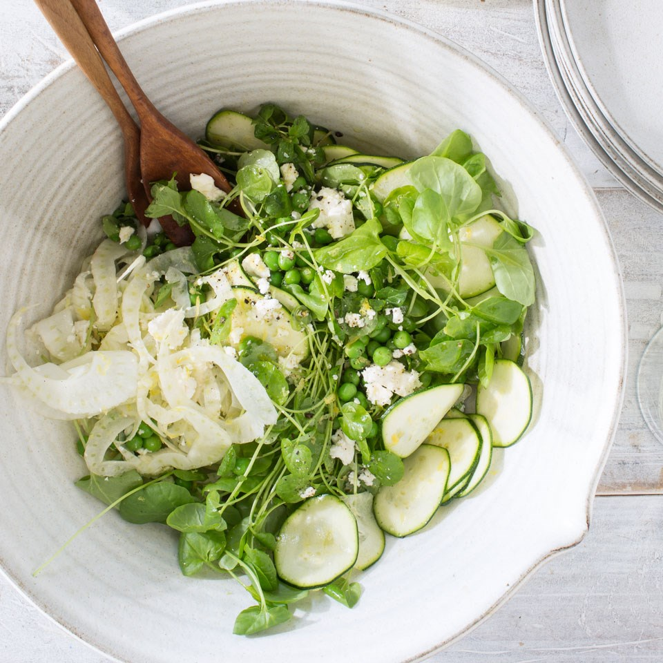 Fennel & Zucchini Salad with Watercress Mint & Feta