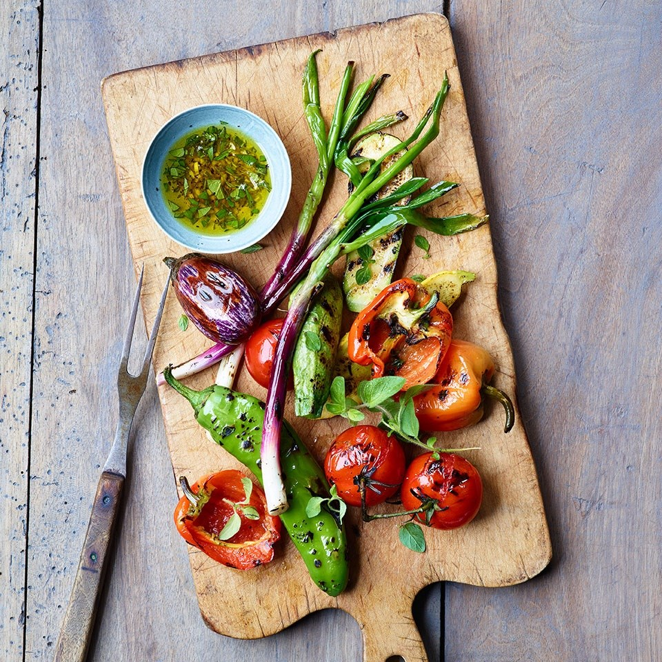 Grilled Summer Vegetables with Shallot-Herb Vinaigrette Recipe