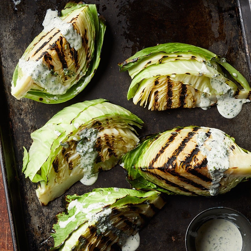 Charred Cabbage with Buttermilk Herb Dressing