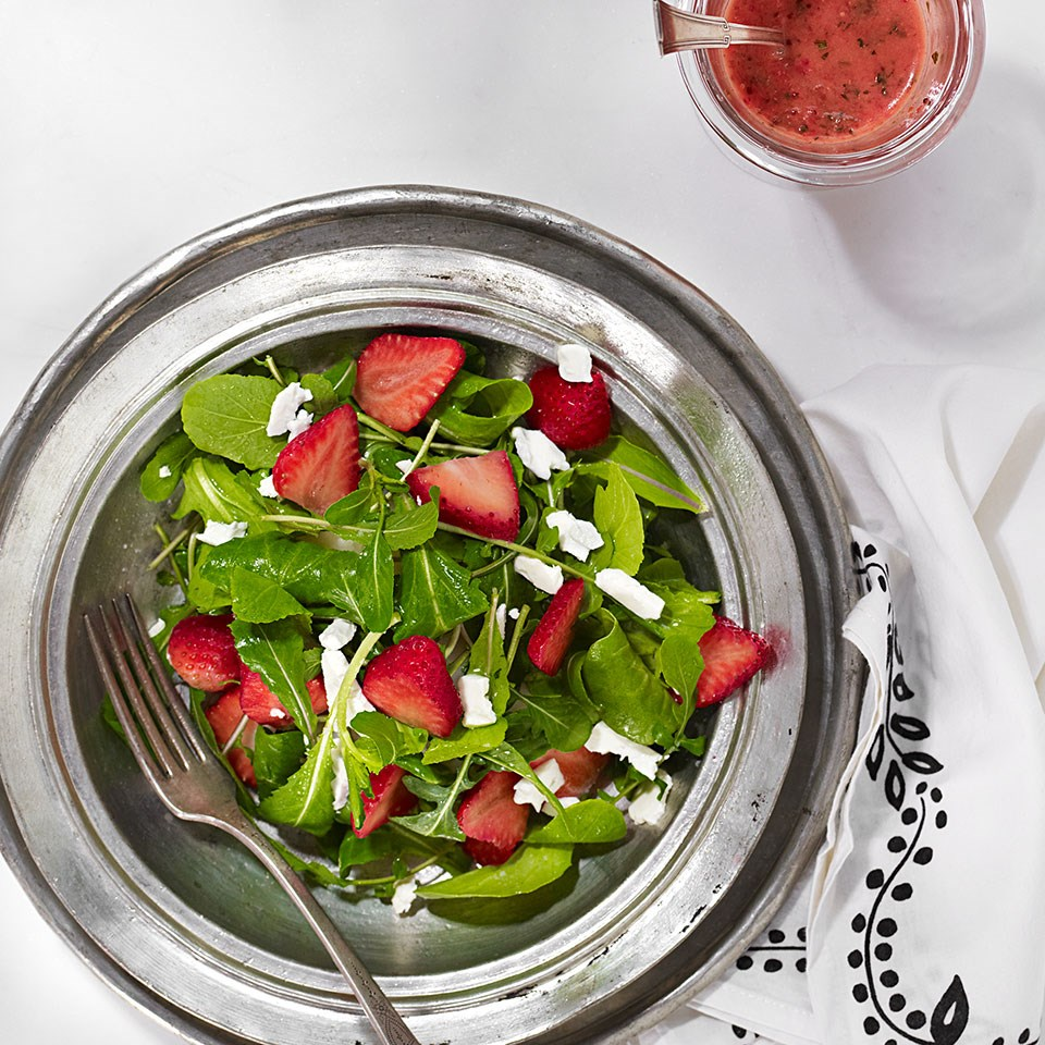 Arugula & Feta Salad with Strawberry Vinaigrette