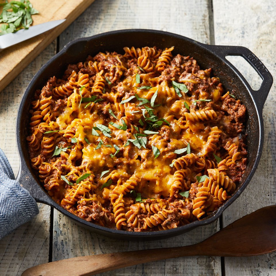 ground beef & pasta skillet recipe - eatingwell