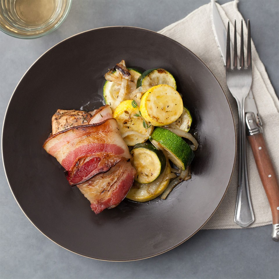 Bacon-Wrapped Chicken with Roasted Zucchini